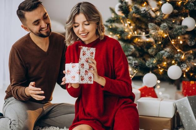 家で一緒にクリスマスを祝うカップル