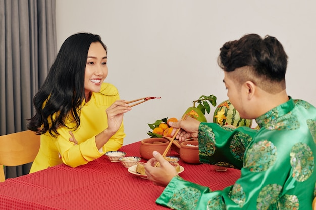 Couple celebrating lunar new year