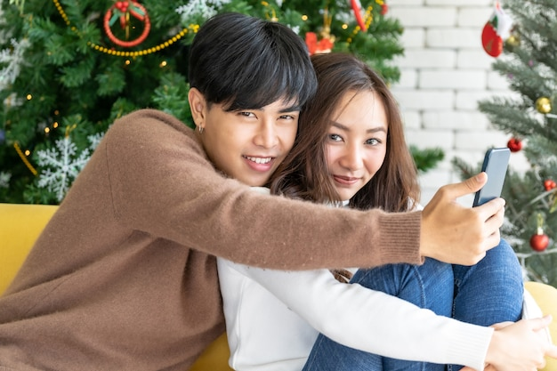 Couple christmas celebration selfie