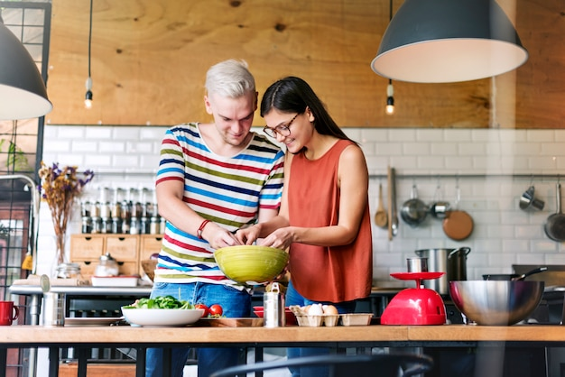Couple cooking food feeding sweet concept