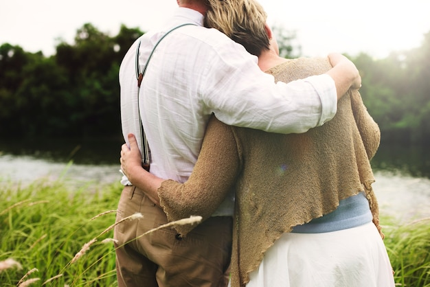 Couple cuddling in the nature
