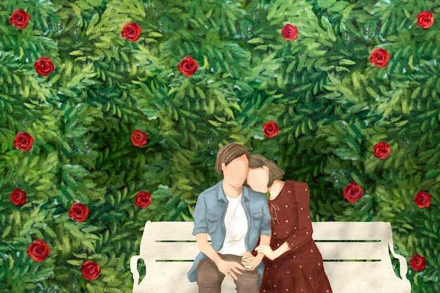 Couple on a date in the garden valentine's theme hand drawn illustration