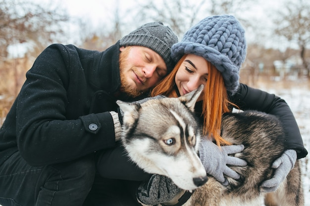 Couple and a dog out of town