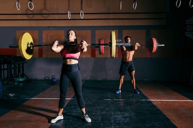 Couple doing bodybuilding