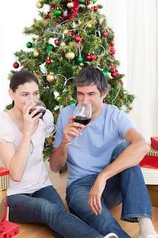 크리스마스 시간에 호마에서 와인을 마시는 몇