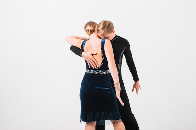 Couple embracing during dance