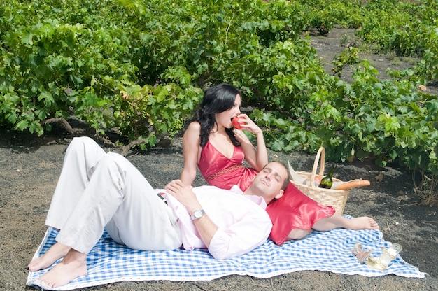 포도원에서 하루를 즐기고 좋은 와인을 즐기는 커플