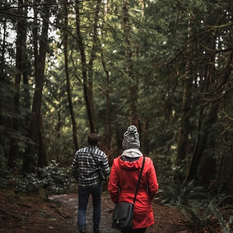 Couple enjoying forest walk