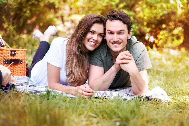 Couple enjoying a picnic in the park