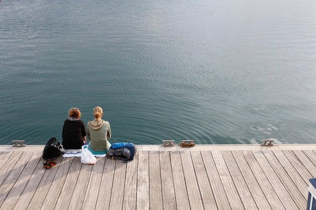 A couple enjoying the place sitting in a relaxed position