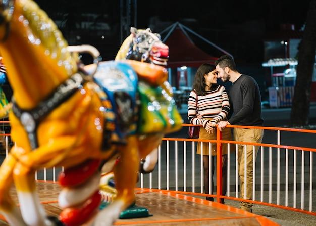 Couple enjoying in a theme park