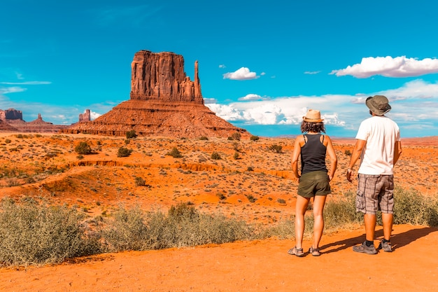 A couple of europeans in the monument valley national park in the visitor center