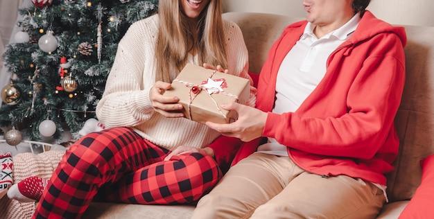 장식 된 크리스마스 트리 근처 선물을 교환하는 커플.