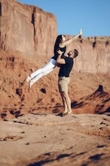 Couple exploring the grand canyon in arizona