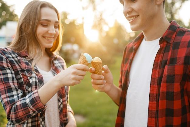 カップルは夏の公園でお互いにアイスクリームを養う