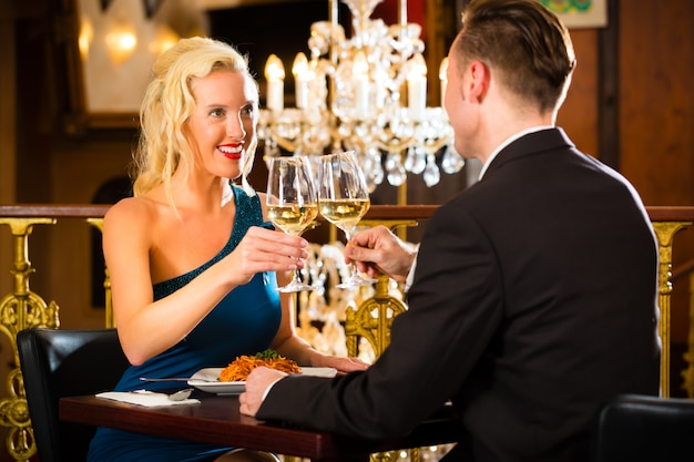 Couple in fine restaurant