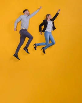 Couple floating in the air