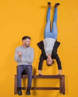 Couple floating on a bench