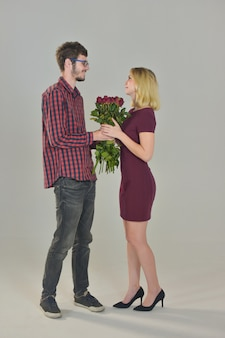 Couple giving rose flower sweet love on white,happy valentine's day