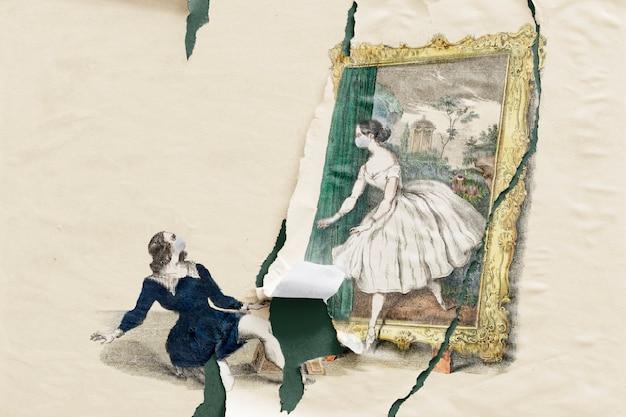 引き裂かれた紙のスタイルで手描きカップル