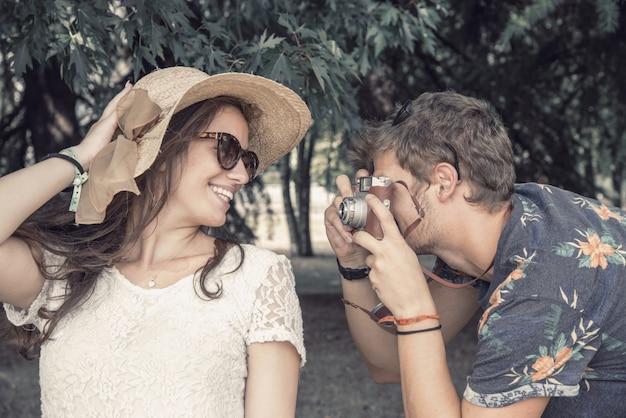 Couple has fun doing photographs