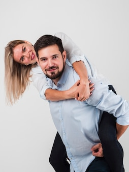 Couple having fun while posing for valentines