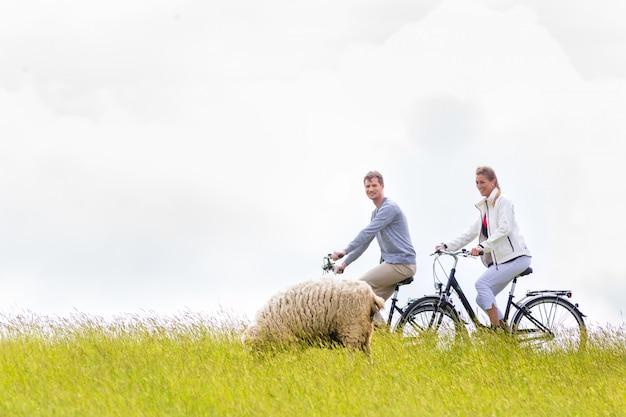 Couple having sea coast bicycle tour at levee