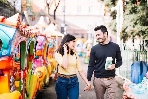 Couple having a walk in a theme park
