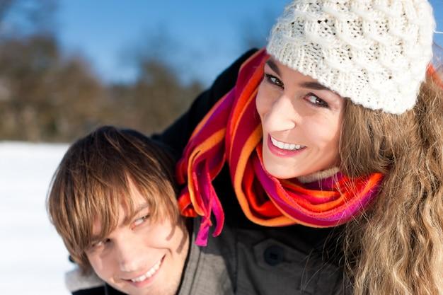 Couple having a winter walk