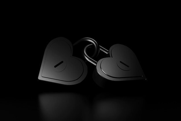 Couple heart shape of master key. 3d rendering.