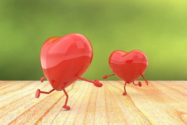 Couple hearts, 3d rendering.