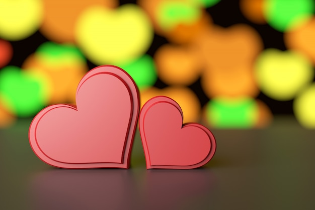 Couple hearts background. 3d rendering.