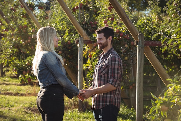 Пара, держась за руки и стоя в яблоневом саду
