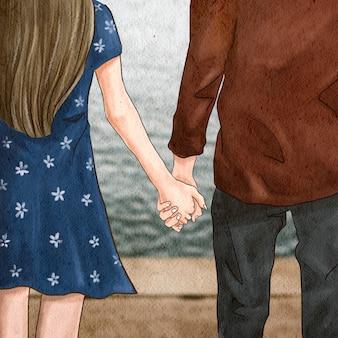 手をつないでカップルロマンチックなバレンタインのイラストソーシャルメディアの投稿
