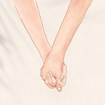 발렌타인 데이 소셜 미디어 게시물을 위해 낭만적으로 손을 잡고 커플