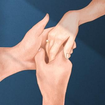 バレンタインデーにロマンチックに手をつなぐカップル