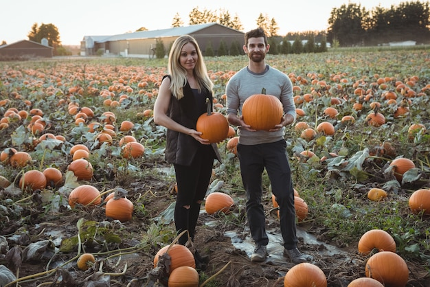Couple holding pumpkin in pumpkin field