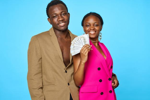 Couple holing money