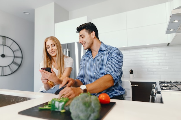 Couple at home in a kitchen