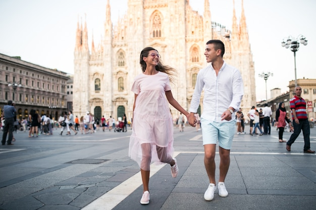 Couple on honeymoon in milan