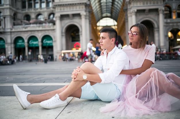 Couple on honeymoon in milan