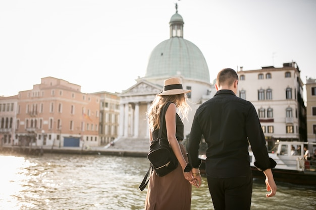 Couple on a honeymoon in venice