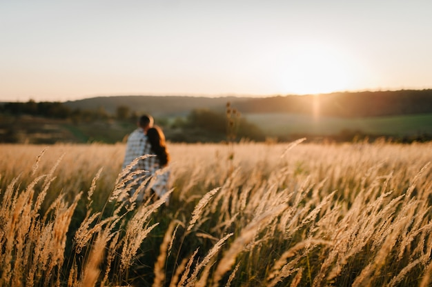 Couple hugging, people covered with blanket, at sunset in autumn outdoor. at field grass on background of sun.  full length standing back. selective focus.