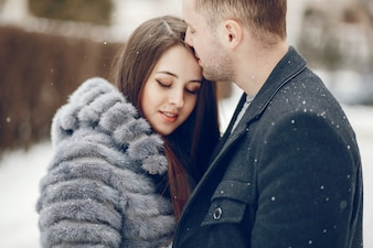 Couple in a winter city
