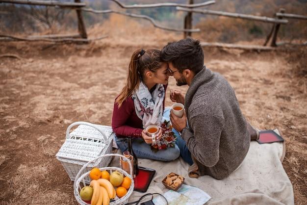 Пара в любви обнимаются, сидя на земле на пикник.