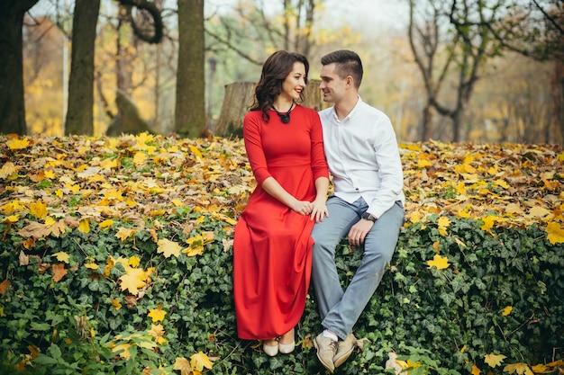 公園での最初のデートで恋をしているカップル