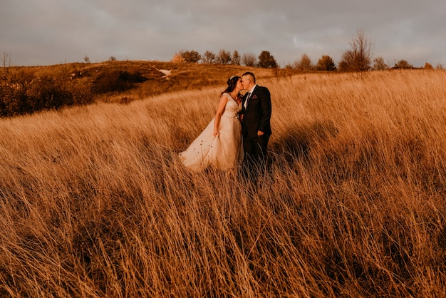 Влюбленная пара свадебные молодожены в белом платье и костюме гуляют по длинной траве в поле летом