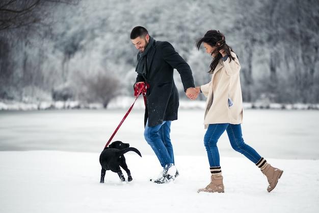 강아지와 함께 거리에서 겨울에 몇