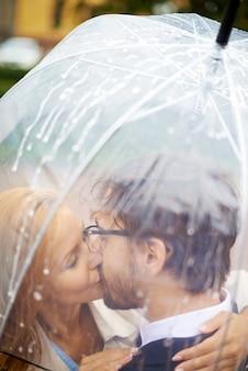 傘の下でキスカップル