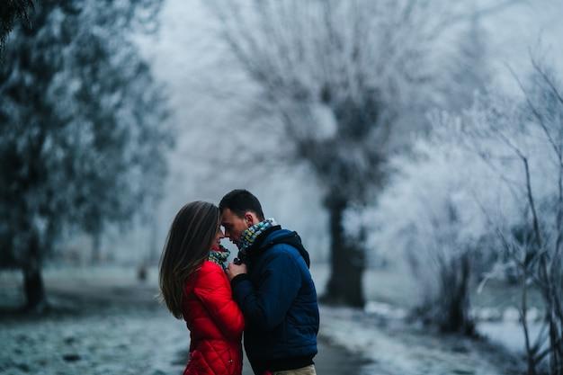 Пара внимательно глядя в глаза с размытым фоном снежный